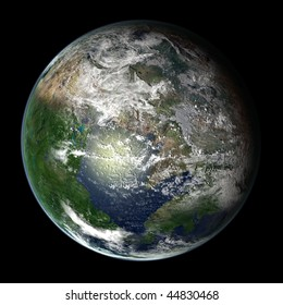 A computer graphic rendering of a possible future Earth named Pange Ultima