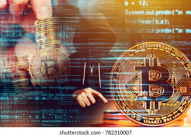 Computer hacker and Bitcoin cryptocurrency, blockchain technology and decentralized monetary system concept