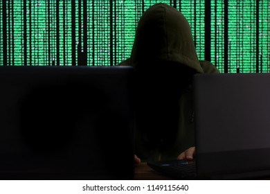 Computer hacker holding a laptop