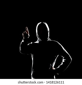Computer hacker in hoodie. Obscured dark face. Data thief, internet fraud, darknet and cyber security concept.