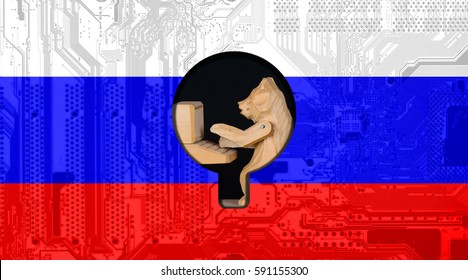 Computer hacker or Network security concept background with Russia flag and the Russian bear-hacker