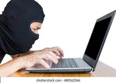 Computer hacker on white background.
