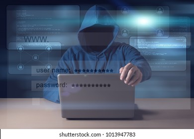 Computer hacker steals data from laptop. Theft of personal data and computer crimes
