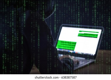 Computer hacker - unsecured network concept