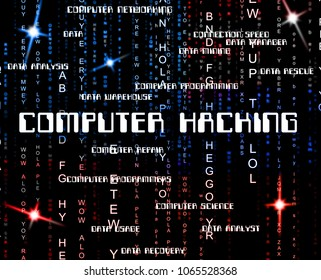 Computer Hacking Words Showing Data Stolen 3d Illustration. Russians Stealing Online Information By Spying And Tampering On Digital Network.
