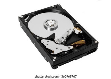 Computer hard disk drive with clipping path isolated on white background