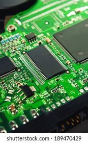 Computer Hard Disk Electronics Circuit, Macro Photo