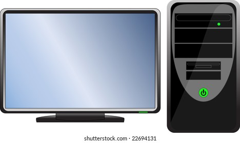 Computer hardware  Black icon (computer with monitor)
