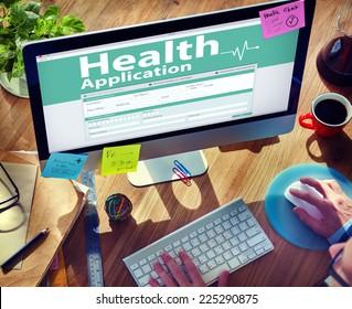 Computer Health Insurance Digital Application Form Concept