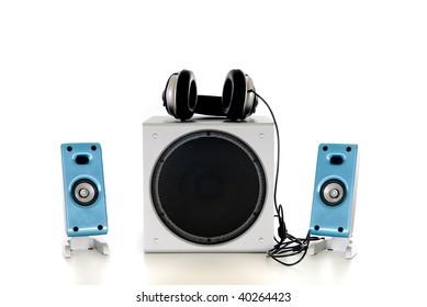 Computer Hifi  Sound system 2.1, satellite, sub-woofer speaker, headset.  Studio, white background.
