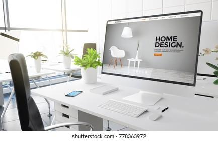 computer with home interior design website 3d rendering.