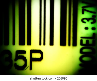 Computer illustration of a barcode strip and random numbers