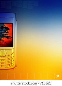 Computer illustration of a cellular phone. Perfect for a flyer with lots of space for your writing.