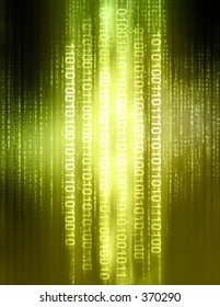 Computer illustration consisting of binary code and matrix style letters.
