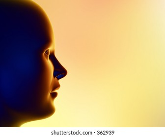 Computer illustration consisting of a female human head, plenty of room for you to add your message.