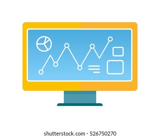 Computer  illustration in flat style design. Screen with infographic line elements. Illustration for technological concepts, web, app, icons, logotype design. Isolated on white background.