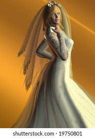 Computer Illustration Of Woman In Wedding Dress
