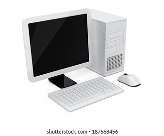 Computer isolated on white background. 3d rendering illustration