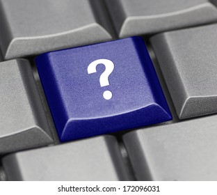 Computer key blue glossy - question mark