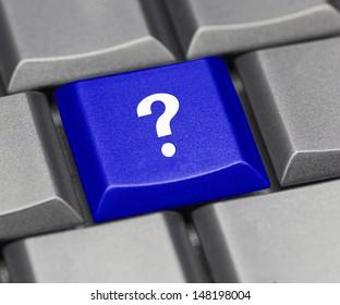 Computer key blue - question mark