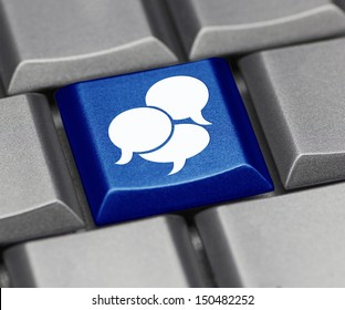 Computer key in blue - text balloon suggesting social media