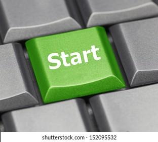 Computer key green - Start