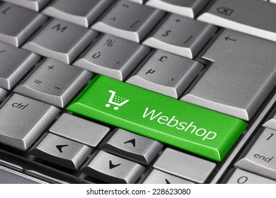Computer key green - Webshop with cart symbol