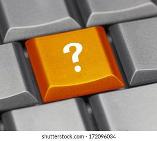 Computer key orange - question mark