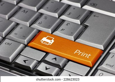 Computer key - Print with printer symbol