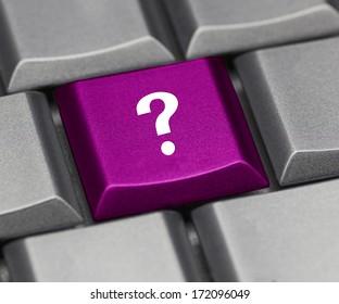 Computer key purple - question mark
