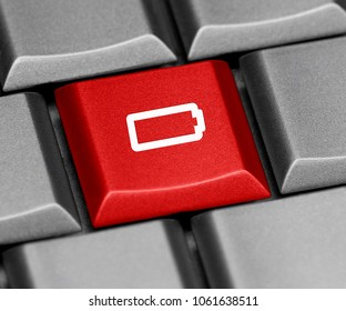 Computer key red - empty battery