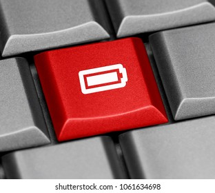Computer key red - full battery