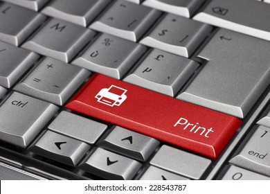 Computer key red - Print with printer symbol