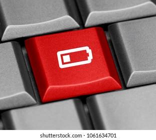 Computer key red - quarter battery