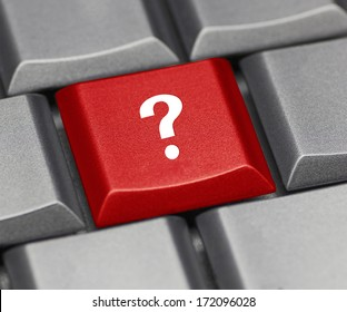 Computer key red - question mark