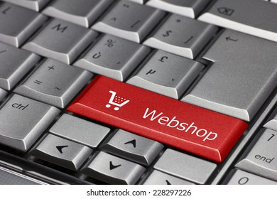 Computer key red - Webshop with cart symbol