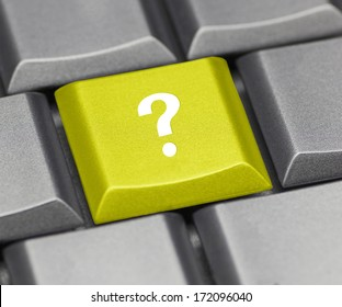 Computer key yellow - question mark