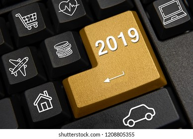 Computer keyboard and 2019 New Year's wish concept.