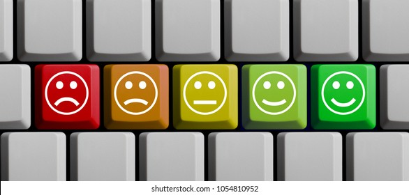 Computer Keyboard with 5 colorful Feedback Icons from very unhappy to very happy