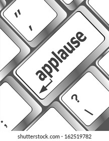 Computer keyboard with applause key - business concept, raster