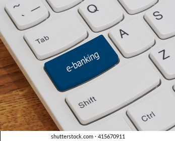 Computer keyboard button with e-banking text