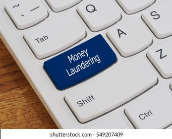 Computer keyboard button with Money Laundering text, Currency concept