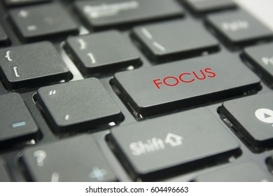 computer keyboard button with word focus concept