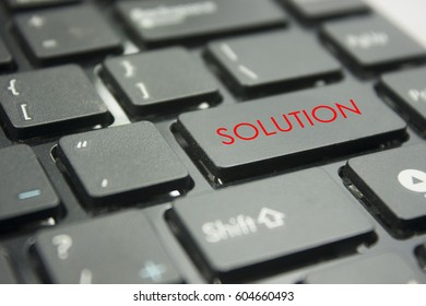 computer keyboard button with word solution concept