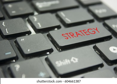computer keyboard button with word strategy concept