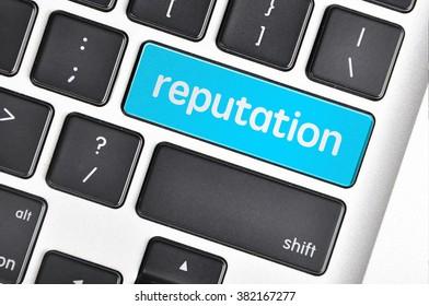 The computer keyboard button written word reputation .