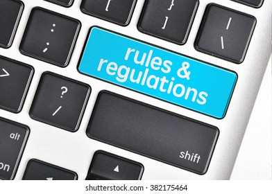 The computer keyboard button written word rules & regulations .