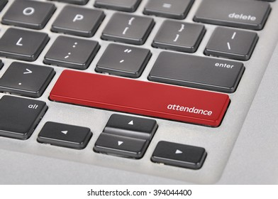 The computer keyboard button written word attendance.