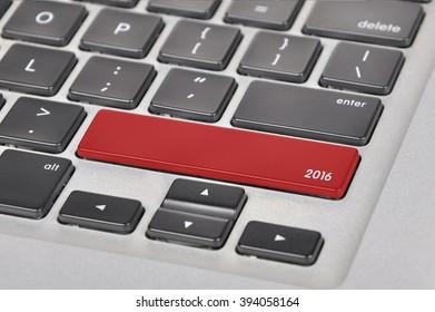 The computer keyboard button written word 2016