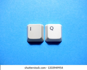 Computer keyboard buttons with IQ (intelligence quotient) abbreviation.